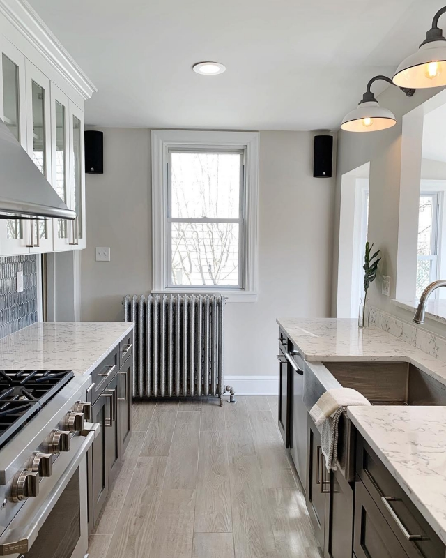 Textural Farmhouse Galley Kitchen Renovation In Mt Airy Dremodeling